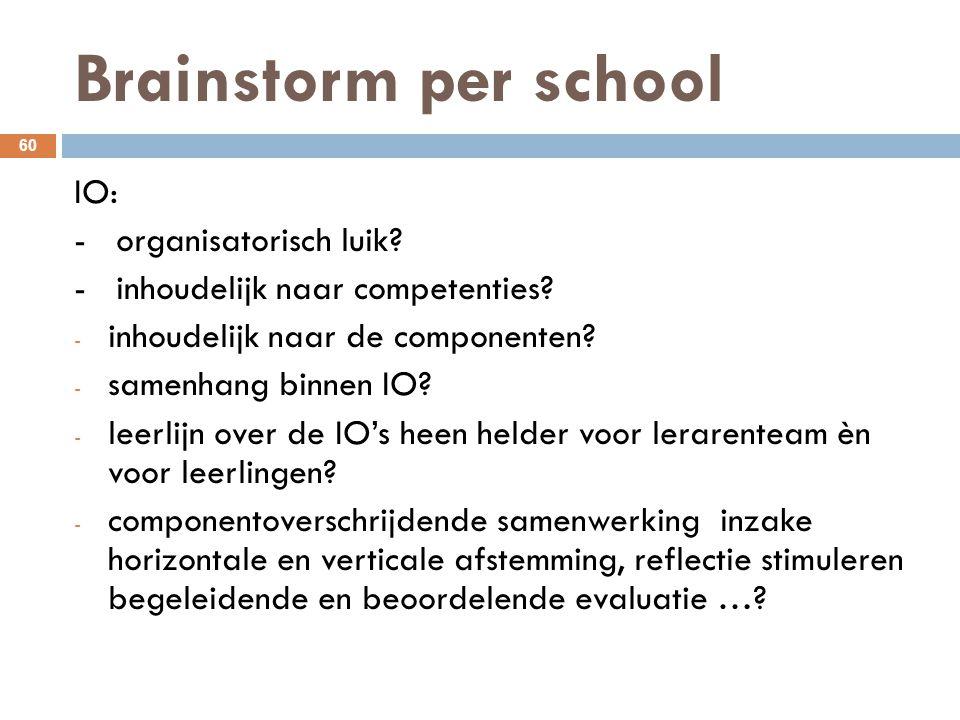 Brainstorm per school 60 IO: - organisatorisch luik? - inhoudelijk naar competenties? - inhoudelijk naar de componenten? - samenhang binnen IO? - leer