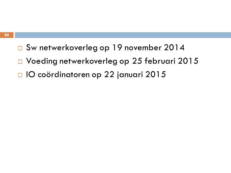  Sw netwerkoverleg op 19 november 2014  Voeding netwerkoverleg op 25 februari 2015  IO coördinatoren op 22 januari 2015 64