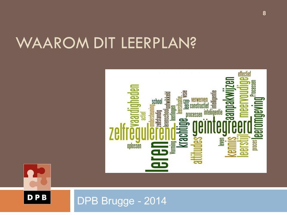 WAAROM DIT LEERPLAN? 8 DPB Brugge - 2014