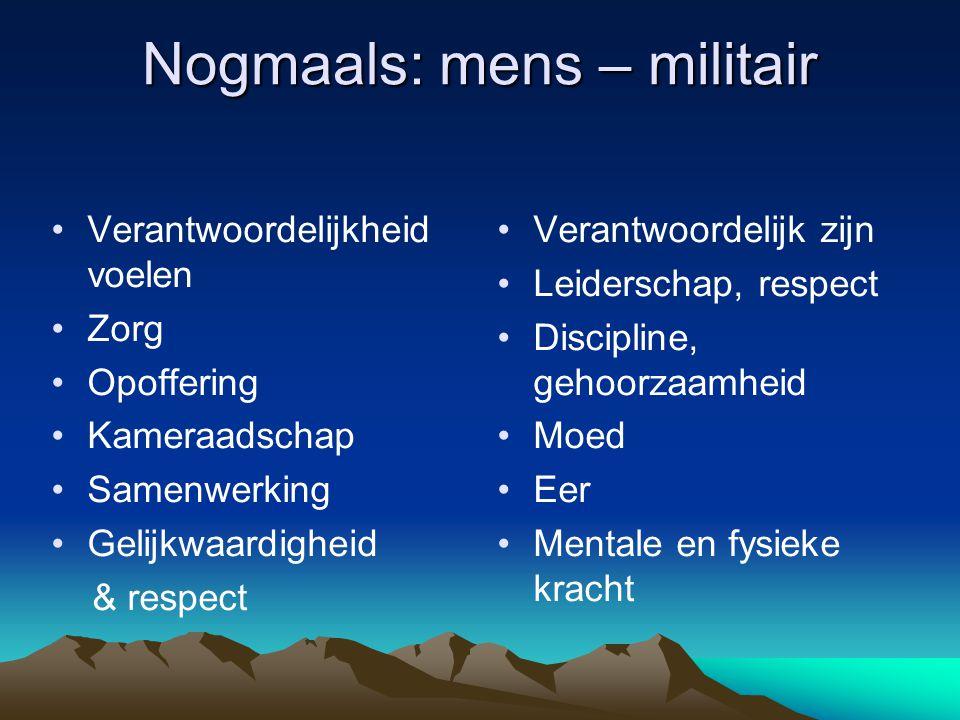Nogmaals: mens – militair Verantwoordelijkheid voelen Zorg Opoffering Kameraadschap Samenwerking Gelijkwaardigheid & respect Verantwoordelijk zijn Lei