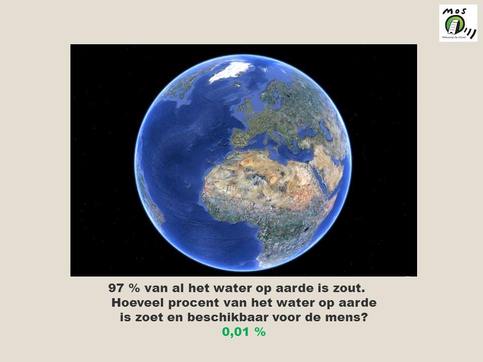 97 % van al het water op aarde is zout.