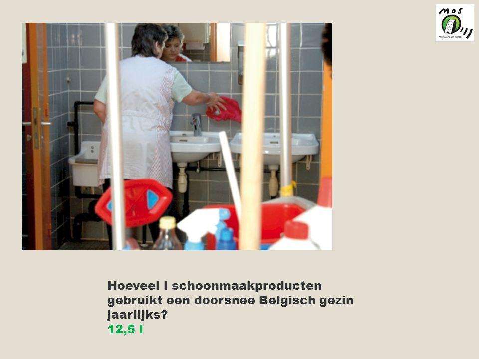 Hoeveel l schoonmaakproducten gebruikt een doorsnee Belgisch gezin jaarlijks? 12,5 l