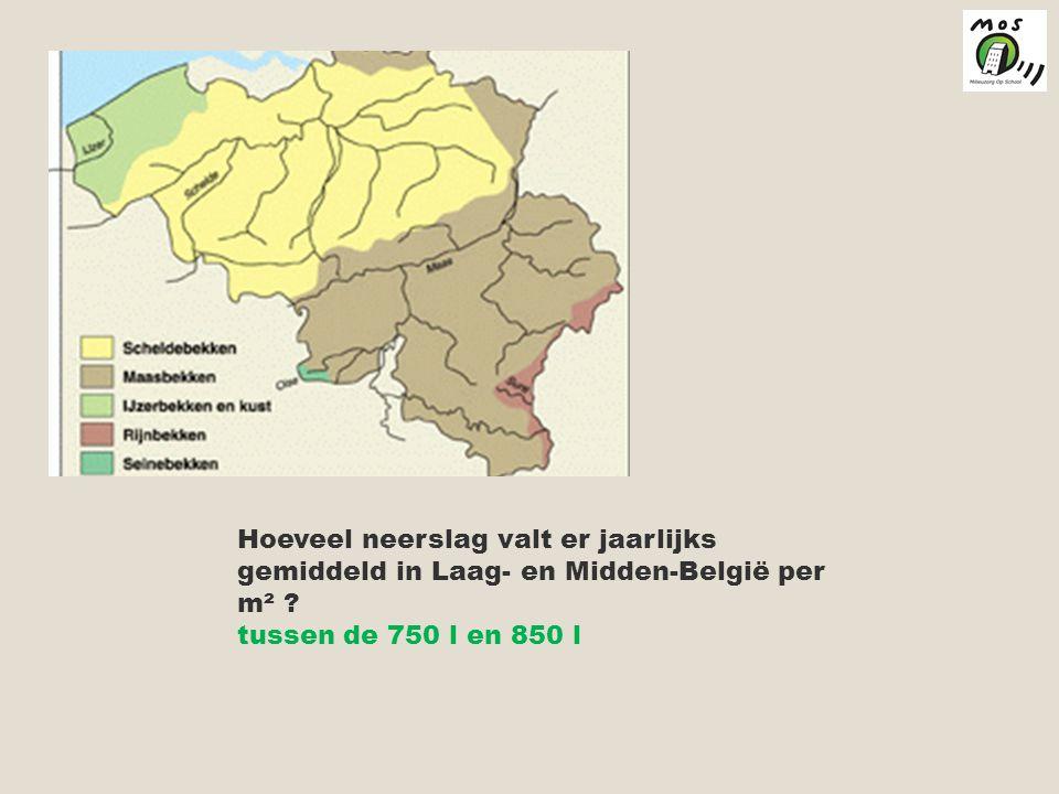 Hoeveel neerslag valt er jaarlijks gemiddeld in Laag- en Midden-België per m² .
