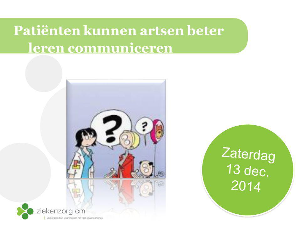 Patiënten kunnen artsen beter leren communiceren Zaterdag 13 dec. 2014