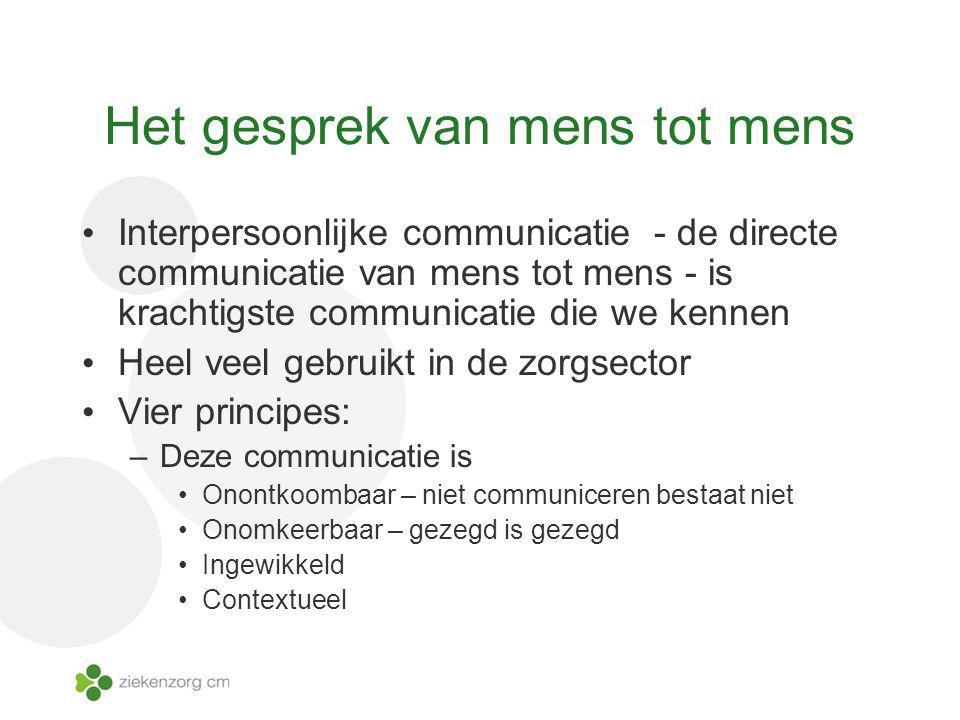 Het gesprek van mens tot mens Interpersoonlijke communicatie - de directe communicatie van mens tot mens - is krachtigste communicatie die we kennen H
