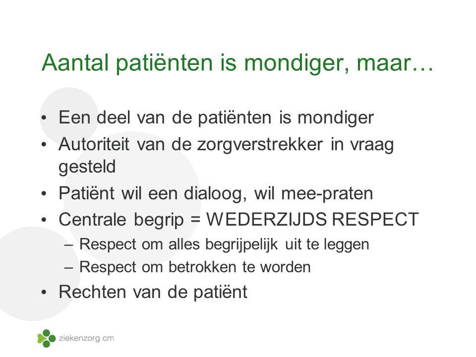 Aantal patiënten is mondiger, maar… Een deel van de patiënten is mondiger Autoriteit van de zorgverstrekker in vraag gesteld Patiënt wil een dialoog,