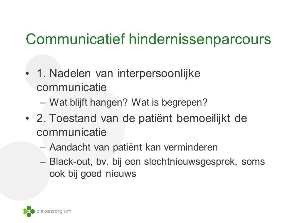 Communicatief hindernissenparcours 1. Nadelen van interpersoonlijke communicatie –Wat blijft hangen? Wat is begrepen? 2. Toestand van de patiënt bemoe