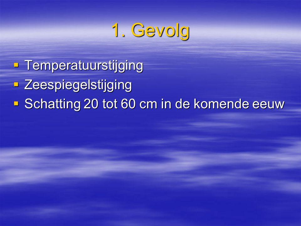 1. Gevolg  Temperatuurstijging  Zeespiegelstijging  Schatting 20 tot 60 cm in de komende eeuw