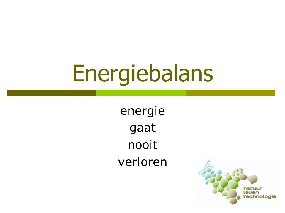 Energiebalans van een mens Energie in OpslagEnergie uit  Welke energie gaat erin.