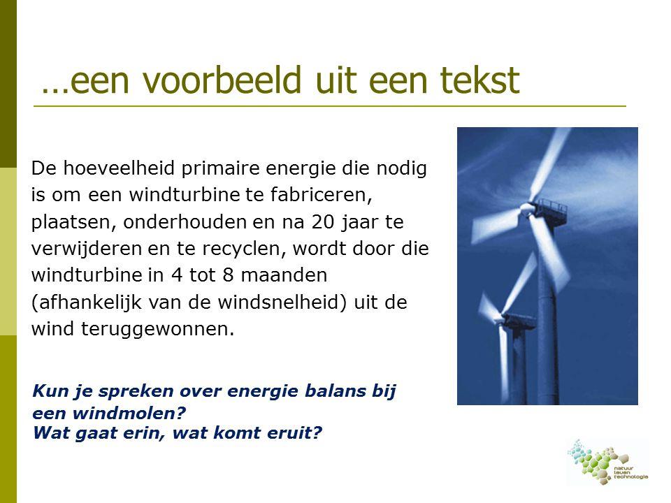 …een voorbeeld uit een tekst Kun je spreken over energie balans bij een windmolen.