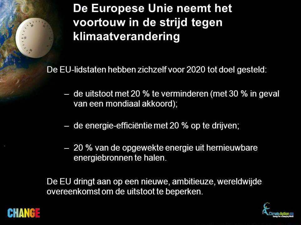 De Europese Unie neemt het voortouw in de strijd tegen klimaatverandering De EU-lidstaten hebben zichzelf voor 2020 tot doel gesteld: –de uitstoot met 20 % te verminderen (met 30 % in geval van een mondiaal akkoord); –de energie-efficiëntie met 20 % op te drijven; –20 % van de opgewekte energie uit hernieuwbare energiebronnen te halen.