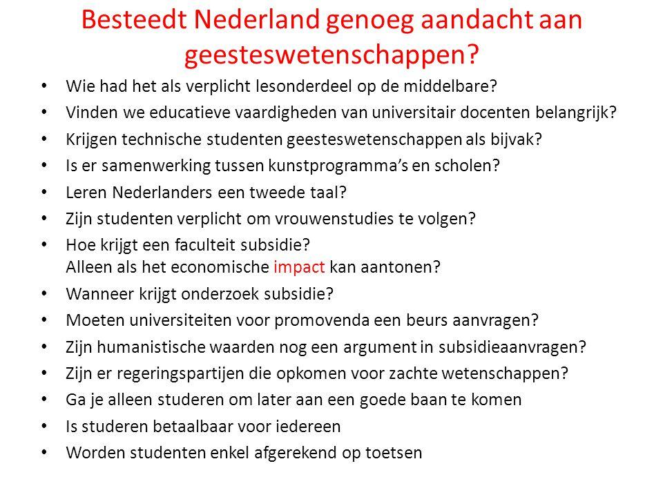 Besteedt Nederland genoeg aandacht aan geesteswetenschappen? Wie had het als verplicht lesonderdeel op de middelbare? Vinden we educatieve vaardighede