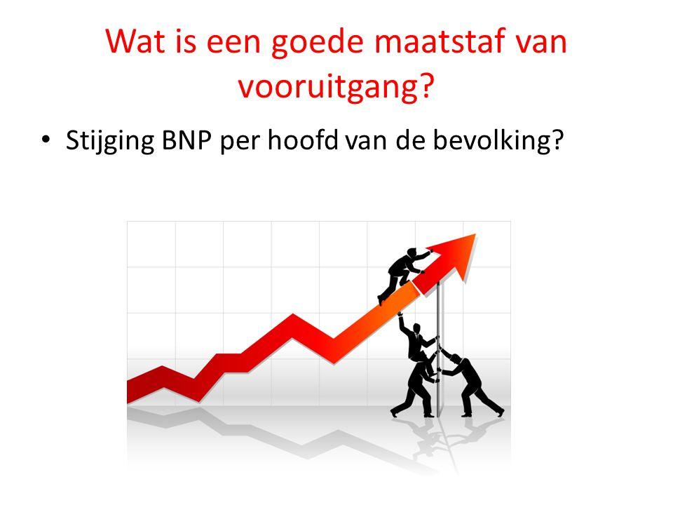Wat is een goede maatstaf van vooruitgang? Stijging BNP per hoofd van de bevolking?
