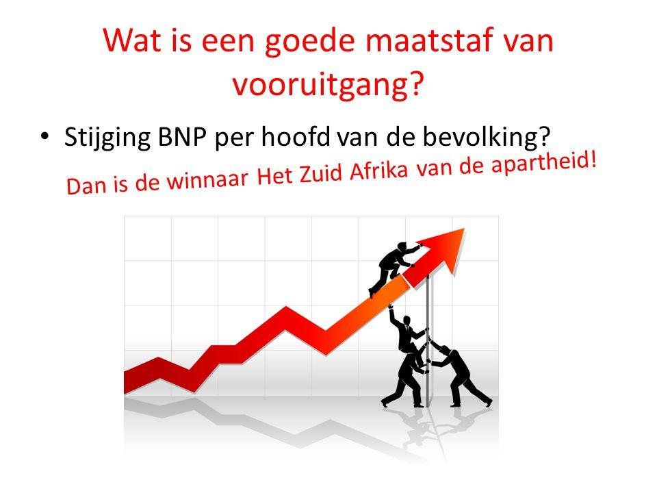 Wat is een goede maatstaf van vooruitgang? Stijging BNP per hoofd van de bevolking? Dan is de winnaar Het Zuid Afrika van de apartheid!