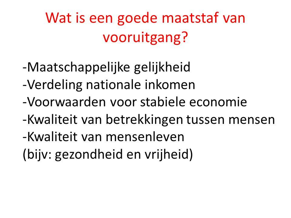 Wat is een goede maatstaf van vooruitgang? -Maatschappelijke gelijkheid -Verdeling nationale inkomen -Voorwaarden voor stabiele economie -Kwaliteit va