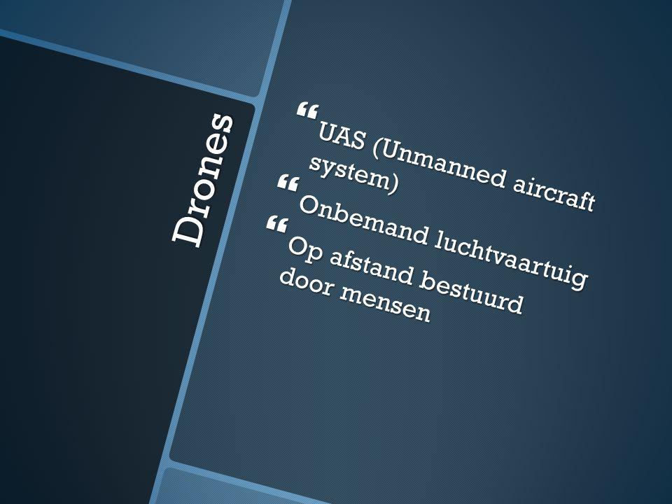 Drones  UAS (Unmanned aircraft system)  Onbemand luchtvaartuig  Op afstand bestuurd door mensen
