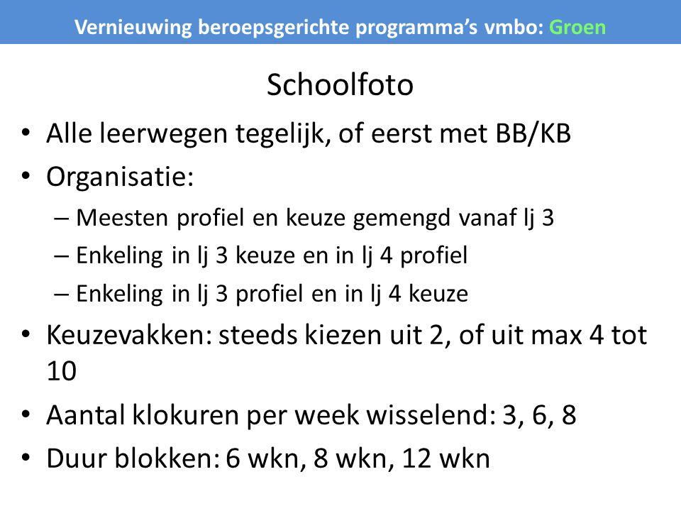 Vernieuwing beroepsgerichte programma's vmbo: Groen Schoolfoto Alle leerwegen tegelijk, of eerst met BB/KB Organisatie: – Meesten profiel en keuze gem