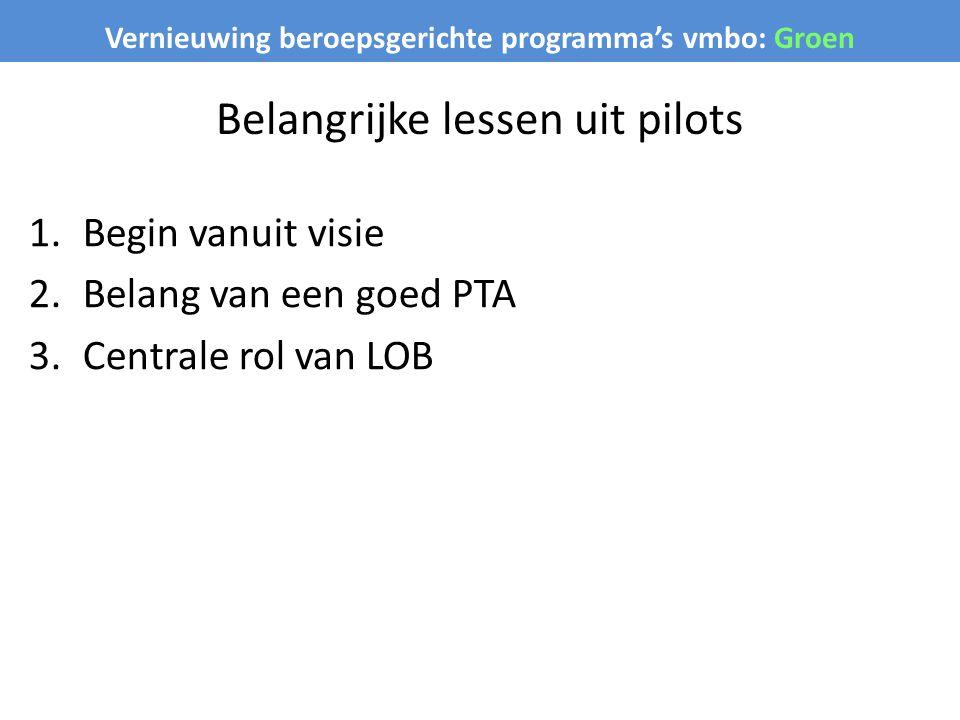 Vernieuwing beroepsgerichte programma's vmbo: Groen Belangrijke lessen uit pilots 1.Begin vanuit visie 2.Belang van een goed PTA 3.Centrale rol van LO