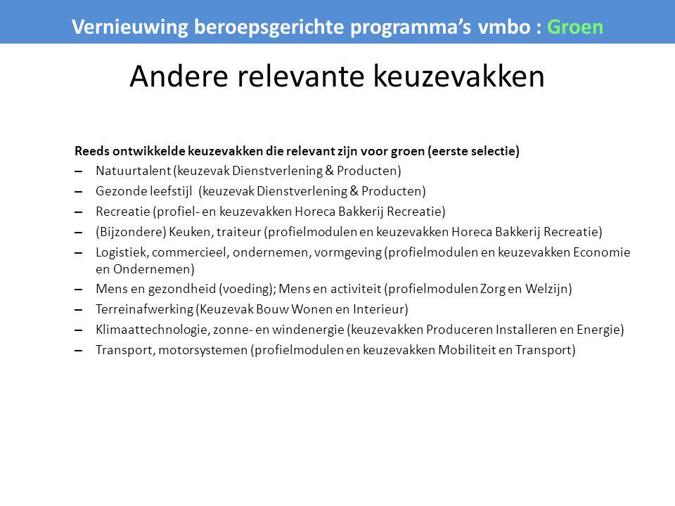 Vernieuwing beroepsgerichte programma's vmbo : Groen Andere relevante keuzevakken Reeds ontwikkelde keuzevakken die relevant zijn voor groen (eerste s