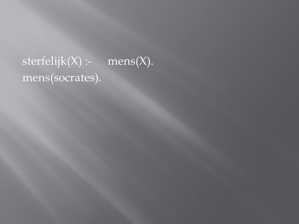 sterfelijk(X) :- mens(X). mens(socrates).