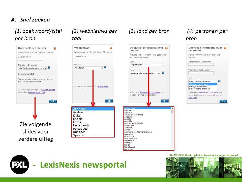 - LexisNexis newsportal A.Snel zoeken (1) zoekwoord/titel per bron (2) webnieuws per taal (3) land per bron (4) personen per bron Zie volgende slides