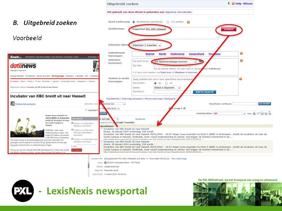 - LexisNexis newsportal B.Uitgebreid zoeken Voorbeeld
