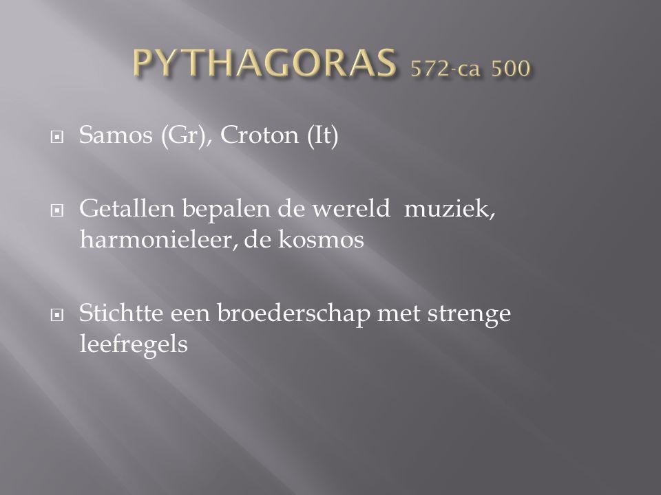  Samos (Gr), Croton (It)  Getallen bepalen de wereld muziek, harmonieleer, de kosmos  Stichtte een broederschap met strenge leefregels