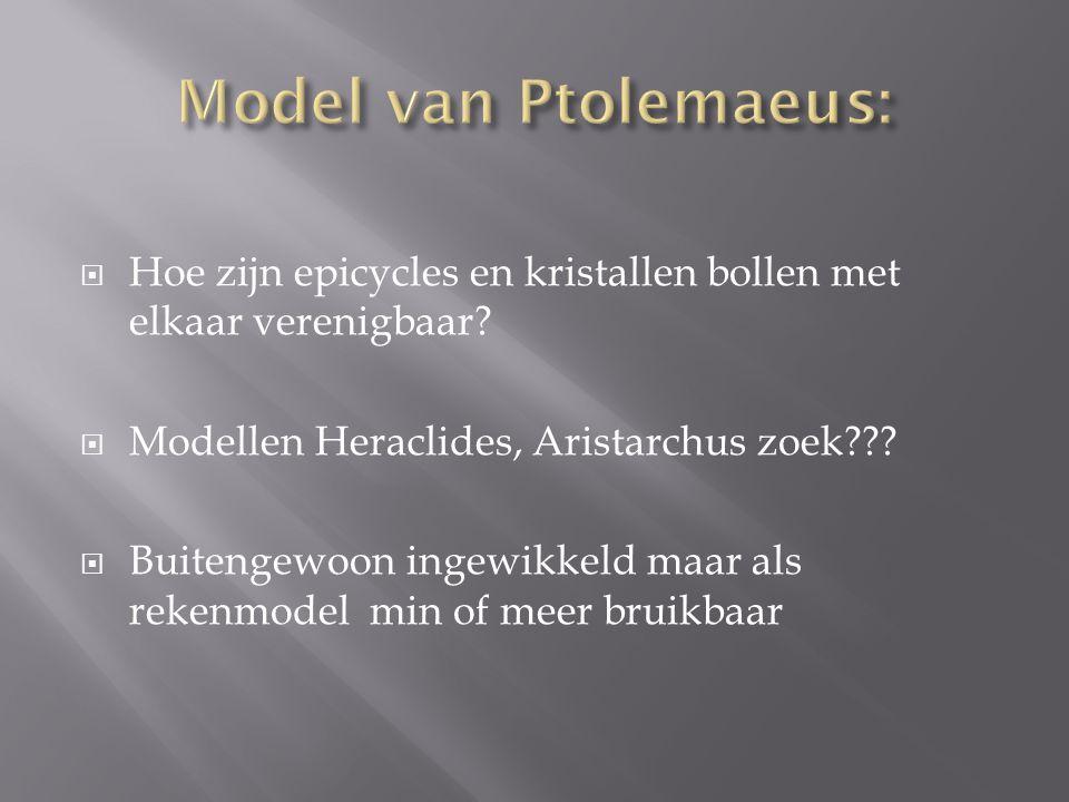  Hoe zijn epicycles en kristallen bollen met elkaar verenigbaar?  Modellen Heraclides, Aristarchus zoek???  Buitengewoon ingewikkeld maar als reken