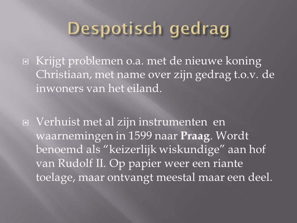  Krijgt problemen o.a.met de nieuwe koning Christiaan, met name over zijn gedrag t.o.v.