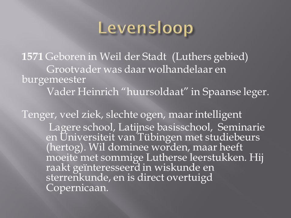 1571 Geboren in Weil der Stadt (Luthers gebied) Grootvader was daar wolhandelaar en burgemeester Vader Heinrich huursoldaat in Spaanse leger.