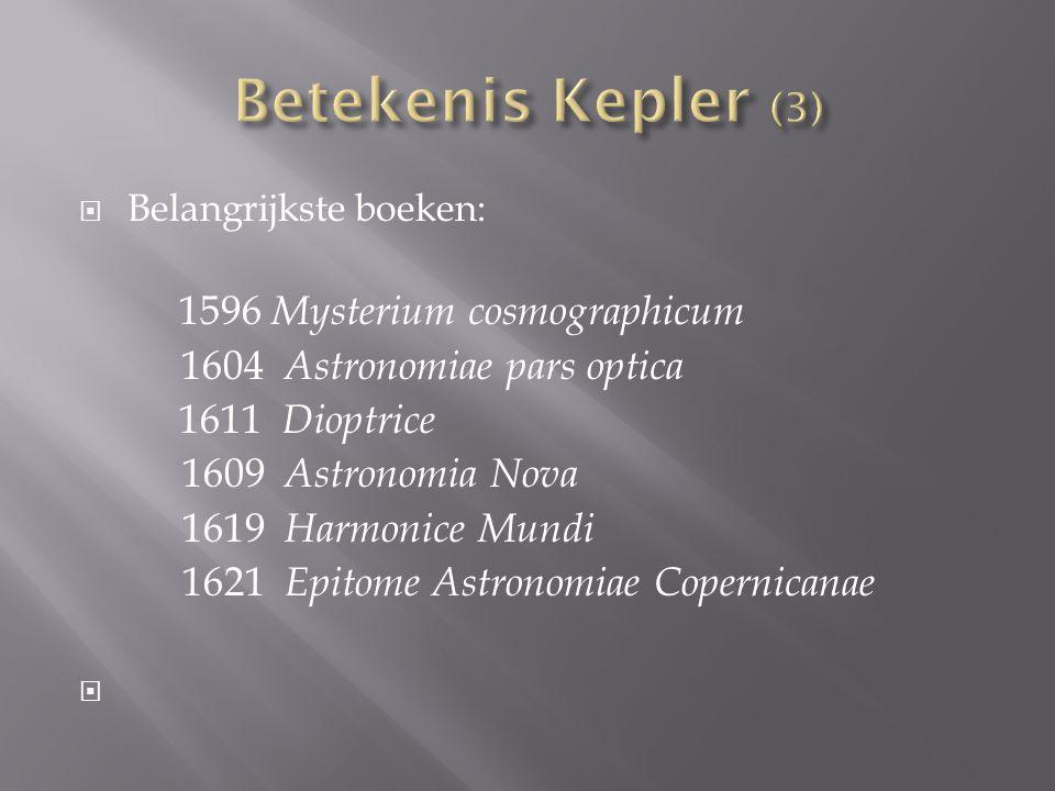  Belangrijkste boeken: 1596 Mysterium cosmographicum 1604 Astronomiae pars optica 1611 Dioptrice 1609 Astronomia Nova 1619 Harmonice Mundi 1621 Epitome Astronomiae Copernicanae 