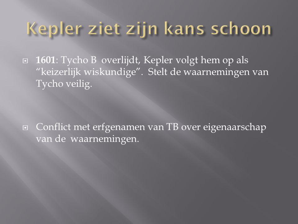 """ 1601 : Tycho B overlijdt, Kepler volgt hem op als """"keizerlijk wiskundige"""". Stelt de waarnemingen van Tycho veilig.  Conflict met erfgenamen van TB"""