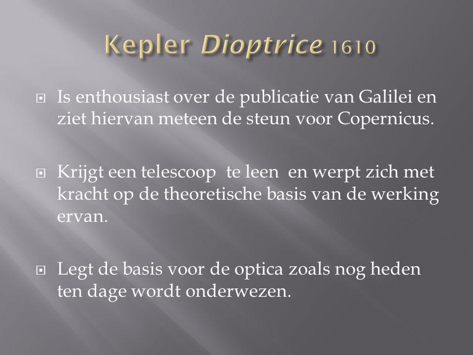  Is enthousiast over de publicatie van Galilei en ziet hiervan meteen de steun voor Copernicus.  Krijgt een telescoop te leen en werpt zich met krac