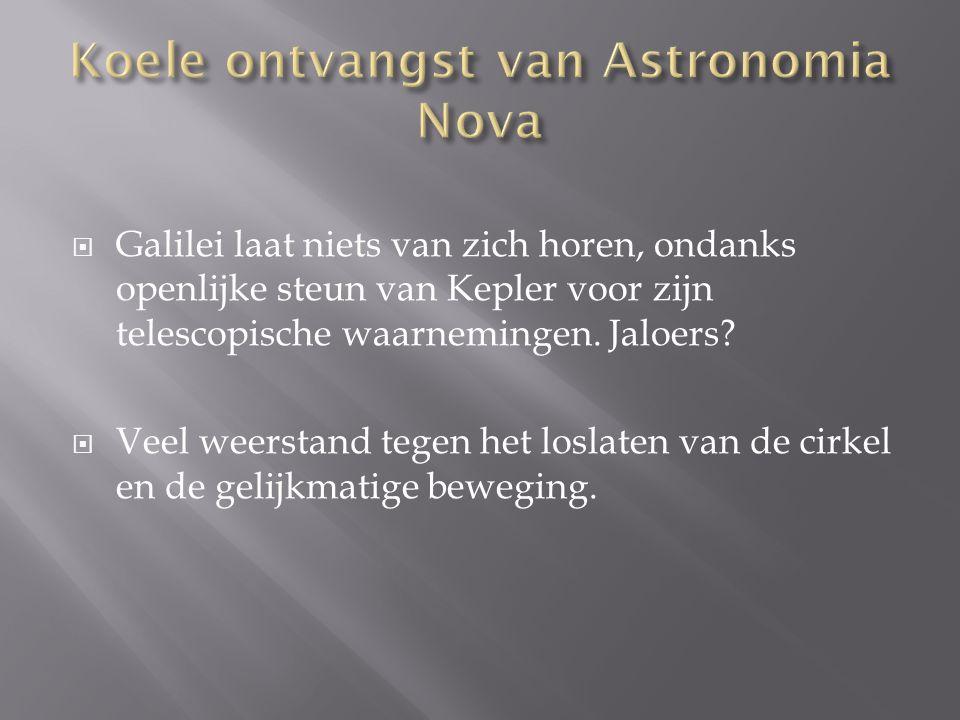  Galilei laat niets van zich horen, ondanks openlijke steun van Kepler voor zijn telescopische waarnemingen. Jaloers?  Veel weerstand tegen het losl