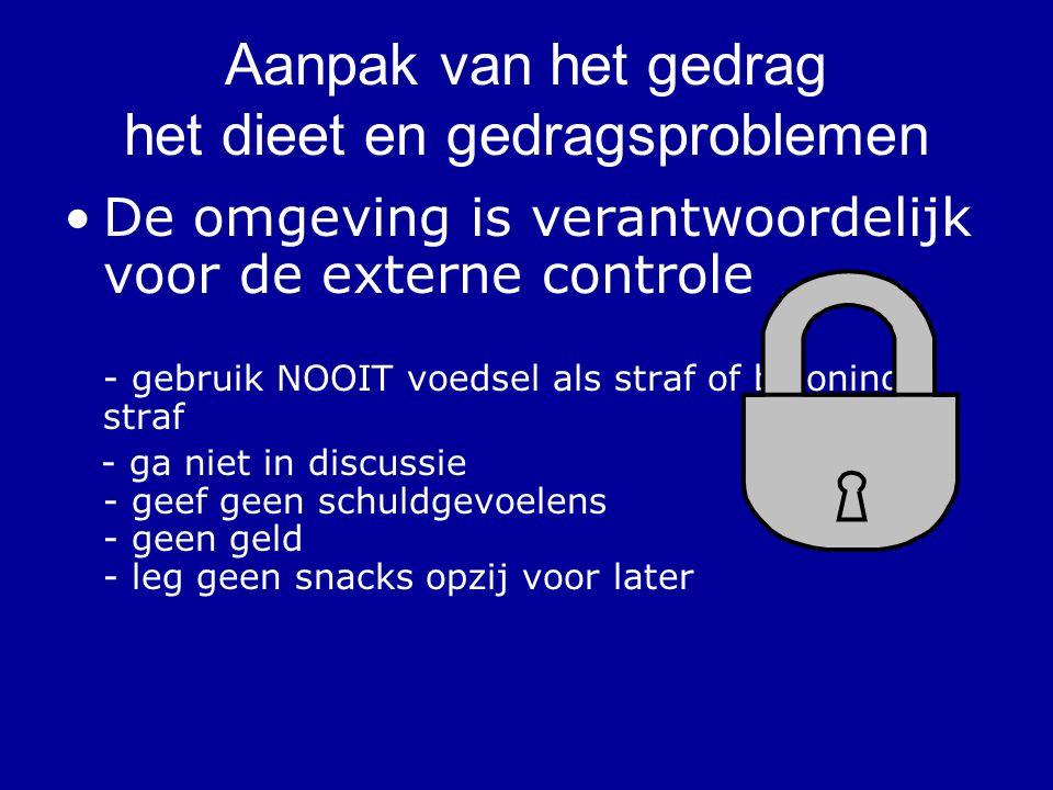 Aanpak van het gedrag het dieet en gedragsproblemen De omgeving is verantwoordelijk voor de externe controle - gebruik NOOIT voedsel als straf of belo