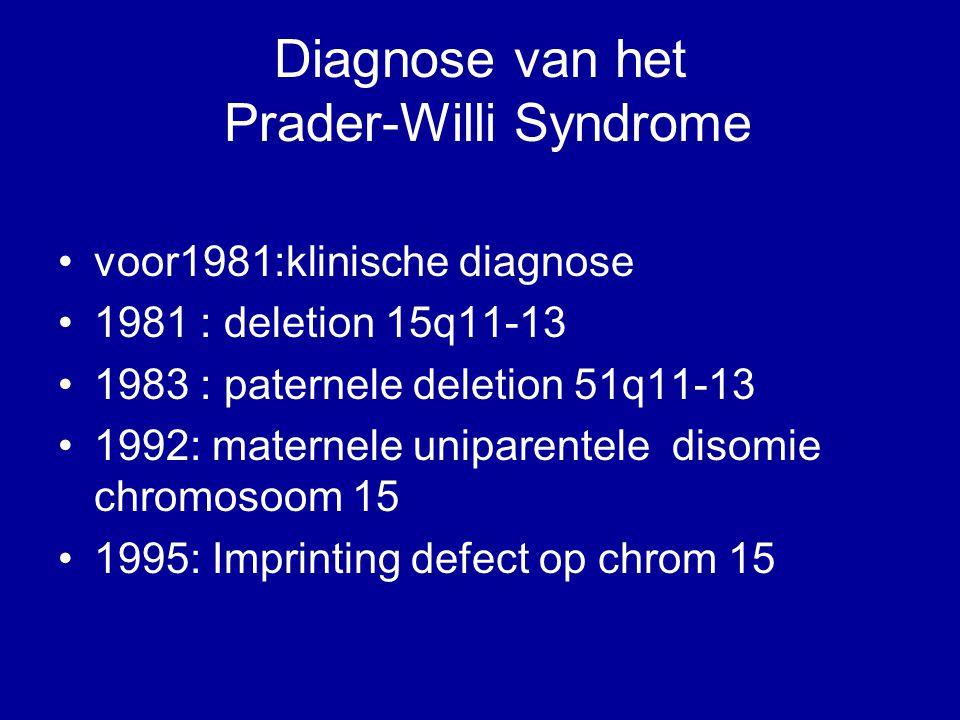 Diagnose van het Prader-Willi Syndrome voor1981:klinische diagnose 1981 : deletion 15q11-13 1983 : paternele deletion 51q11-13 1992: maternele unipare