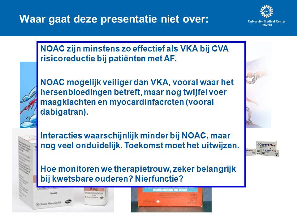 Waar gaat deze presentatie niet over: NOAC zijn minstens zo effectief als VKA bij CVA risicoreductie bij patiënten met AF.