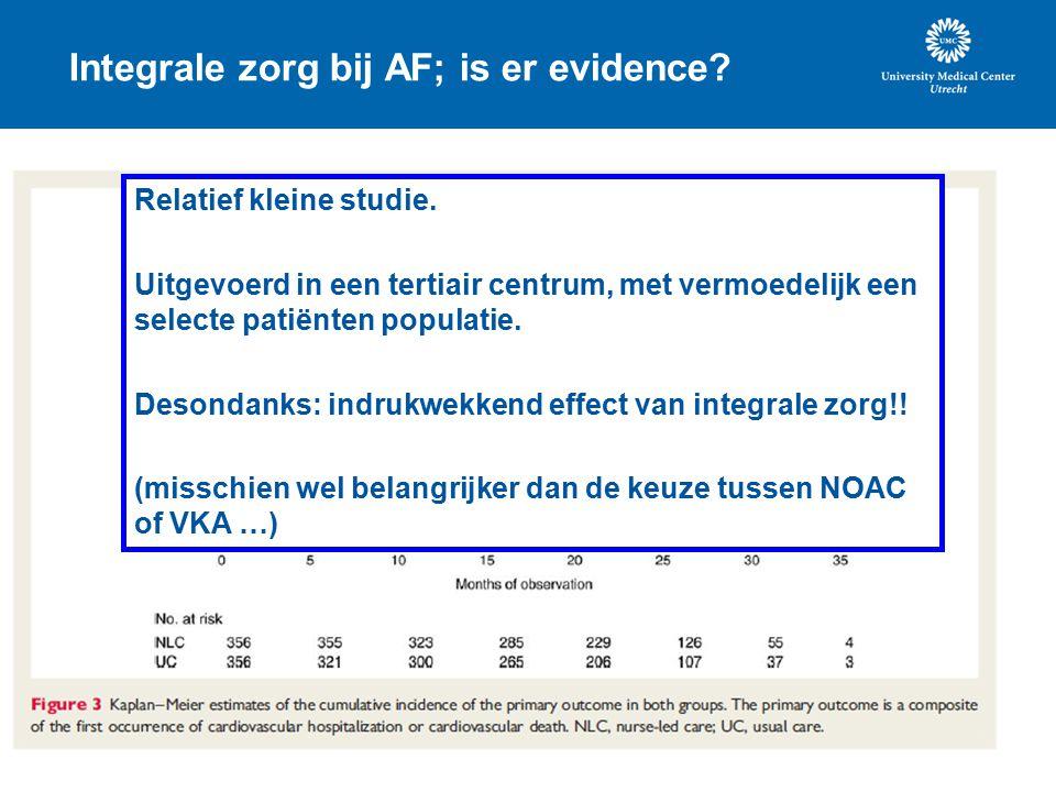 Integrale zorg bij AF; is er evidence.Relatief kleine studie.