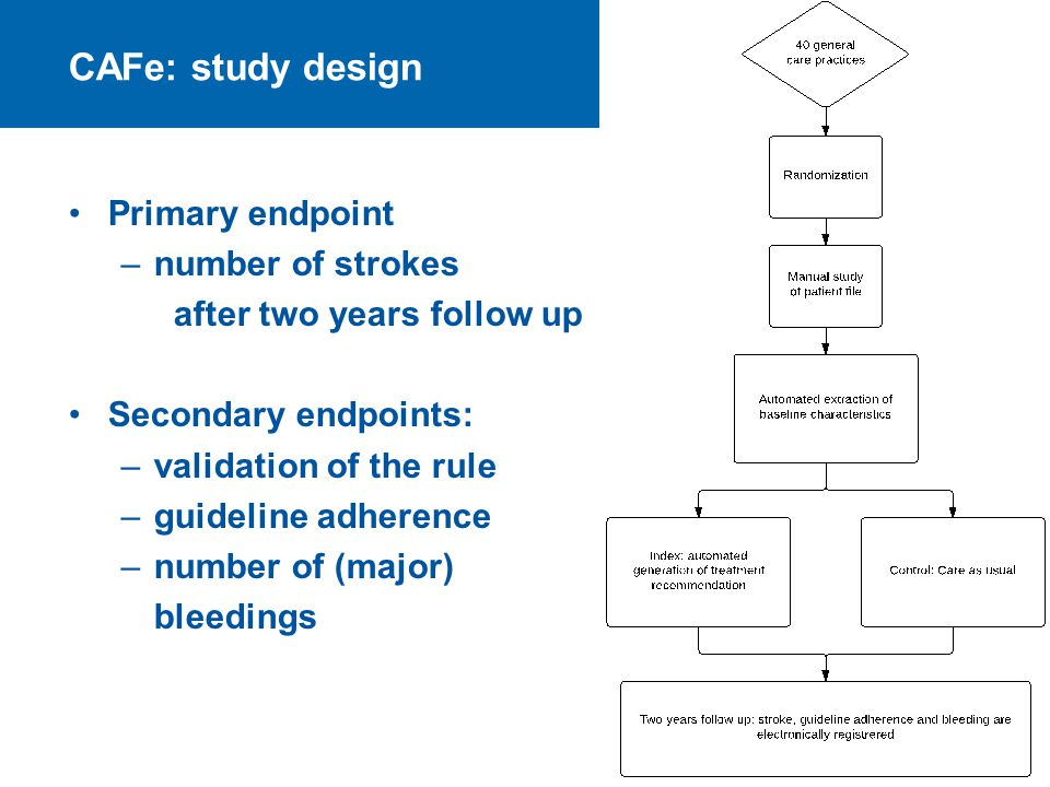CAFe: study design Primary endpoint –number of strokes after two years follow up Secondary endpoints: –validation of the rule –guideline adherence –nu