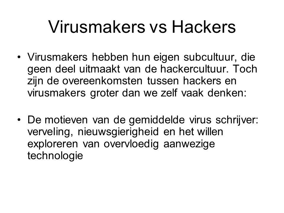 Virusmakers vs Hackers Virusmakers hebben hun eigen subcultuur, die geen deel uitmaakt van de hackercultuur.