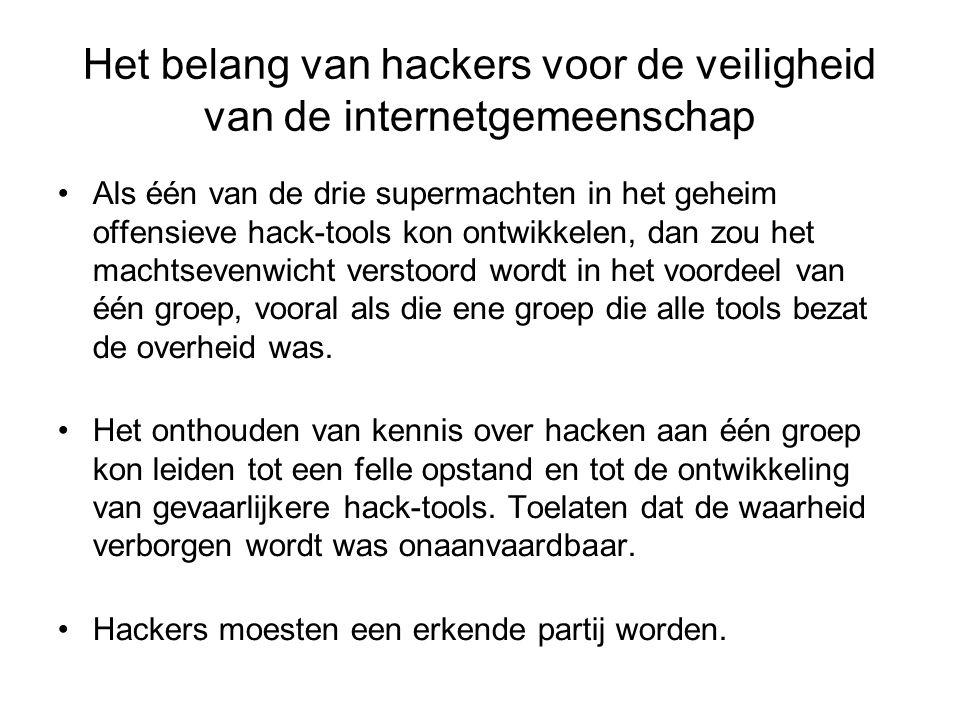 Het belang van hackers voor de veiligheid van de internetgemeenschap Als één van de drie supermachten in het geheim offensieve hack-tools kon ontwikkelen, dan zou het machtsevenwicht verstoord wordt in het voordeel van één groep, vooral als die ene groep die alle tools bezat de overheid was.