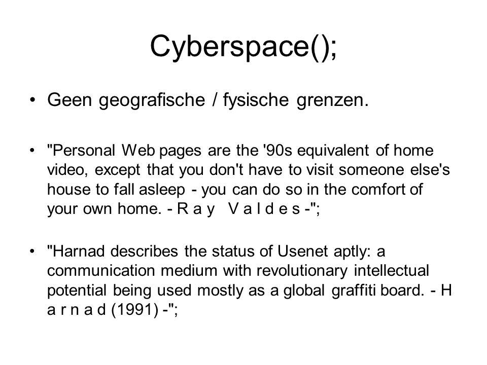 Cyberspace(); Geen geografische / fysische grenzen.
