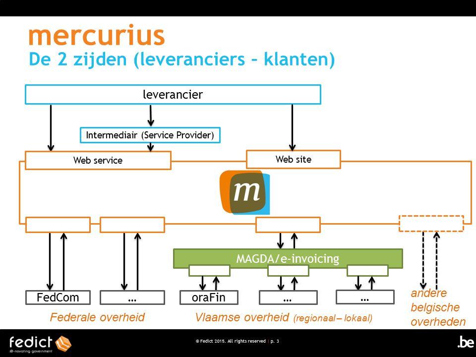 © Fedict 2015. All rights reserved | p. 3 FedCom Federale overheid De 2 zijden (leveranciers – klanten) Vlaamse overheid (regionaal – lokaal) mercuriu