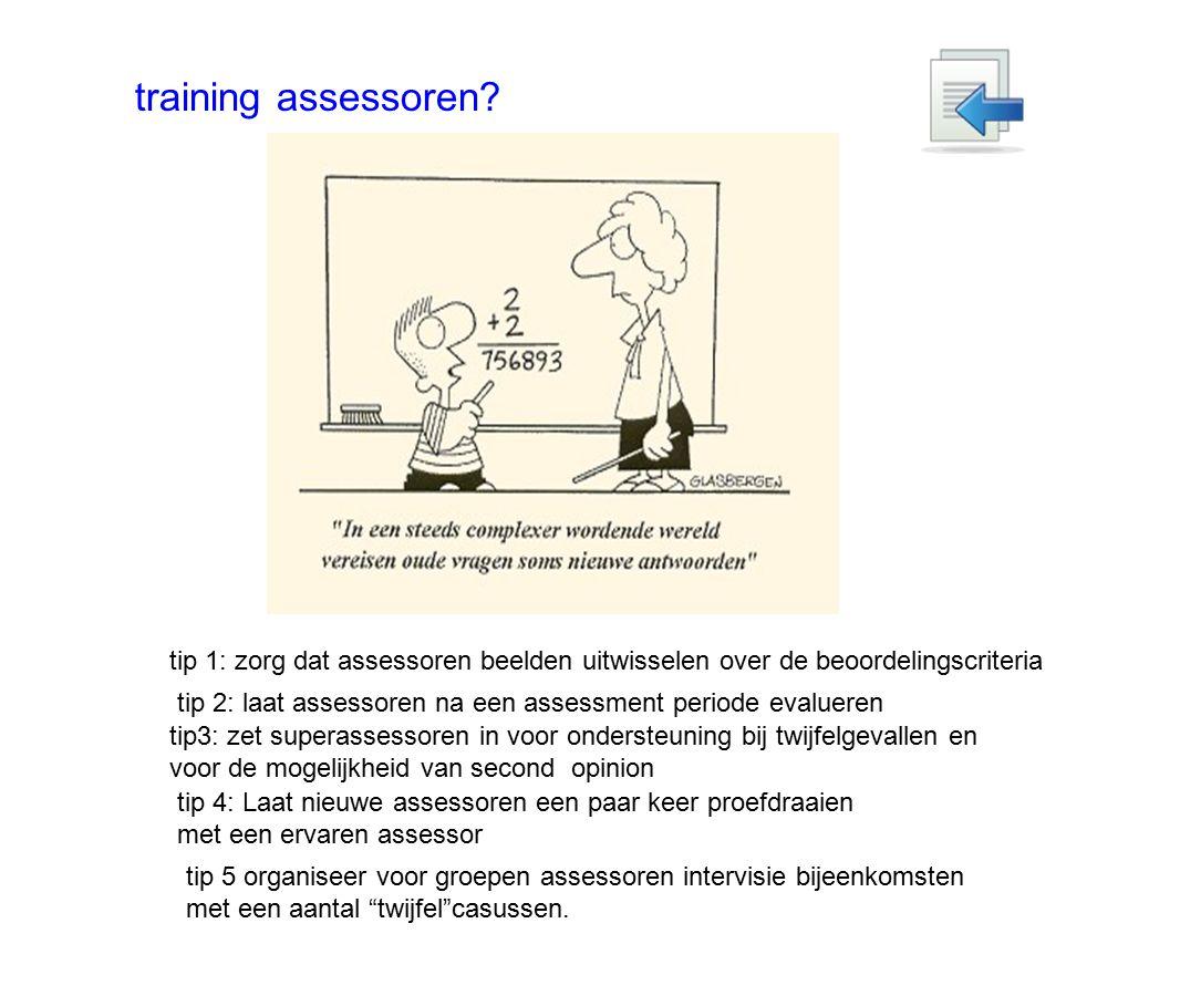 training assessoren? tip 1: zorg dat assessoren beelden uitwisselen over de beoordelingscriteria tip 2: laat assessoren na een assessment periode eval