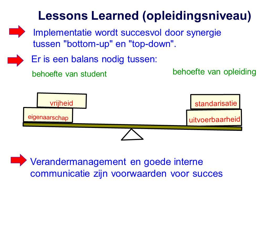 Lessons Learned (opleidingsniveau) Implementatie wordt succesvol door synergie tussen