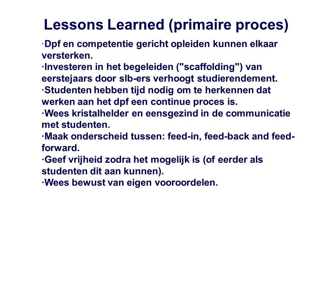 Lessons Learned (primaire proces) ·Dpf en competentie gericht opleiden kunnen elkaar versterken. ·Investeren in het begeleiden (