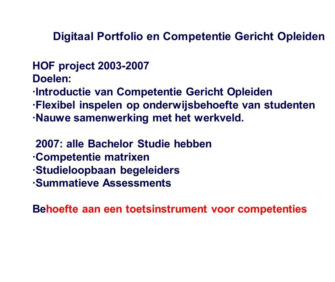 Digitaal Portfolio en Competentie Gericht Opleiden HOF project 2003-2007 Doelen: ·Introductie van Competentie Gericht Opleiden ·Flexibel inspelen op o