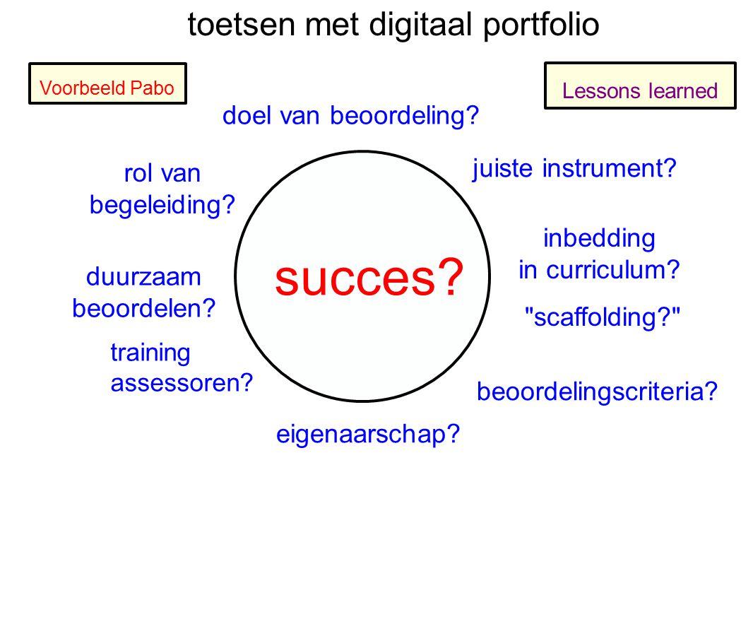Voorbeeld Pabo toetsen met digitaal portfolio doel van beoordeling? inbedding in curriculum? eigenaarschap? rol van begeleiding? duurzaam beoordelen?