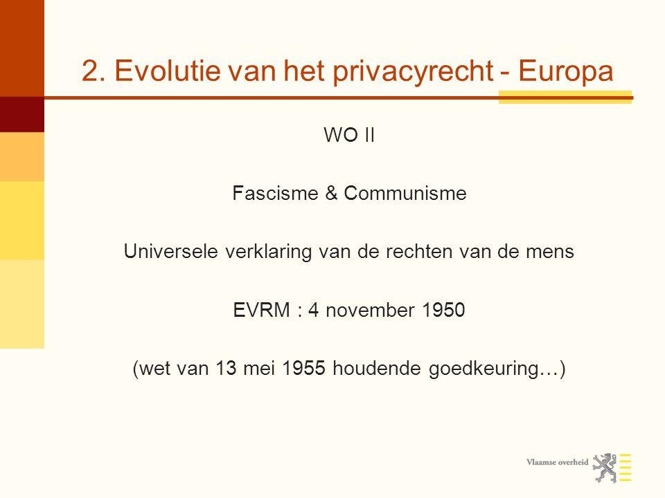 2. Evolutie van het privacyrecht - Europa WO II Fascisme & Communisme Universele verklaring van de rechten van de mens EVRM : 4 november 1950 (wet van