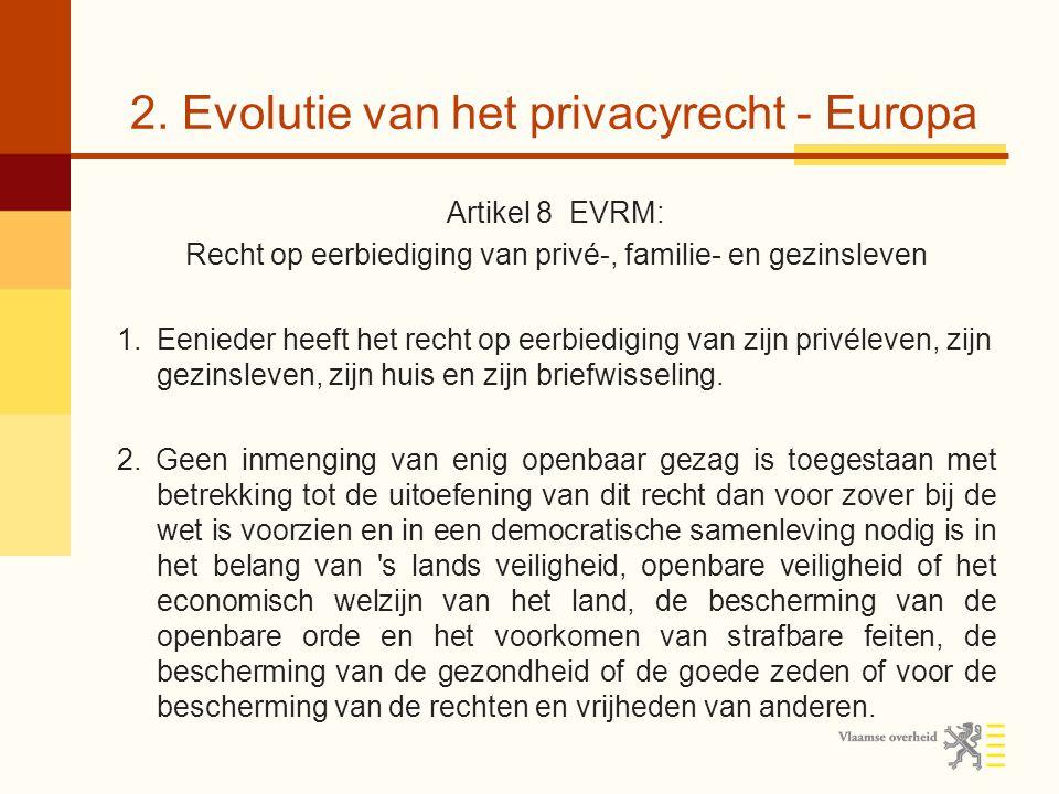 2. Evolutie van het privacyrecht - Europa Artikel 8 EVRM: Recht op eerbiediging van privé-, familie- en gezinsleven 1.Eenieder heeft het recht op eerb